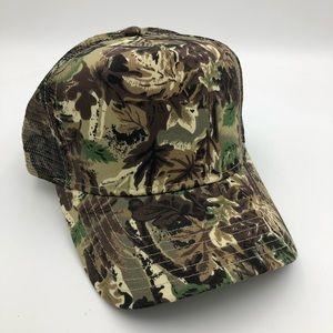VINTAGE Leaf Camouflage Hunting Baseball Hat Cap